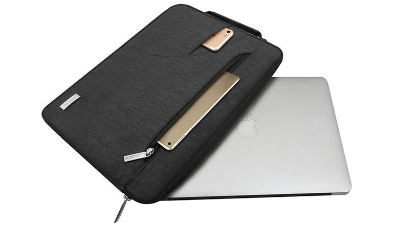 MOSISO Laptop Shoulder Bag Compatible 2018 MacBook Air 13 A1932 Retina Display/MacBook Pro 13 A1989 A1706 A1708 USB-C 2018 2017 2016/Surface Pro 6/5/4/3, Polyester Briefcase Case, Black