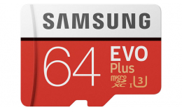 Карта памяти Samsung 64GB EVO Plus Class 10 UHS-I microSDXC U3 with Adapter (MB-MC64GA)