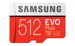 Samsung 512GB EVO Plus Class 10 UHS-I microSDXC U3 with Adapter (MB-MC512GA/AM)
