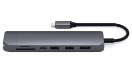 Satechi Aluminum Type-C Slim Multi-Port with Ethernet Adapter Space Gray (ST-UCSMA3M)