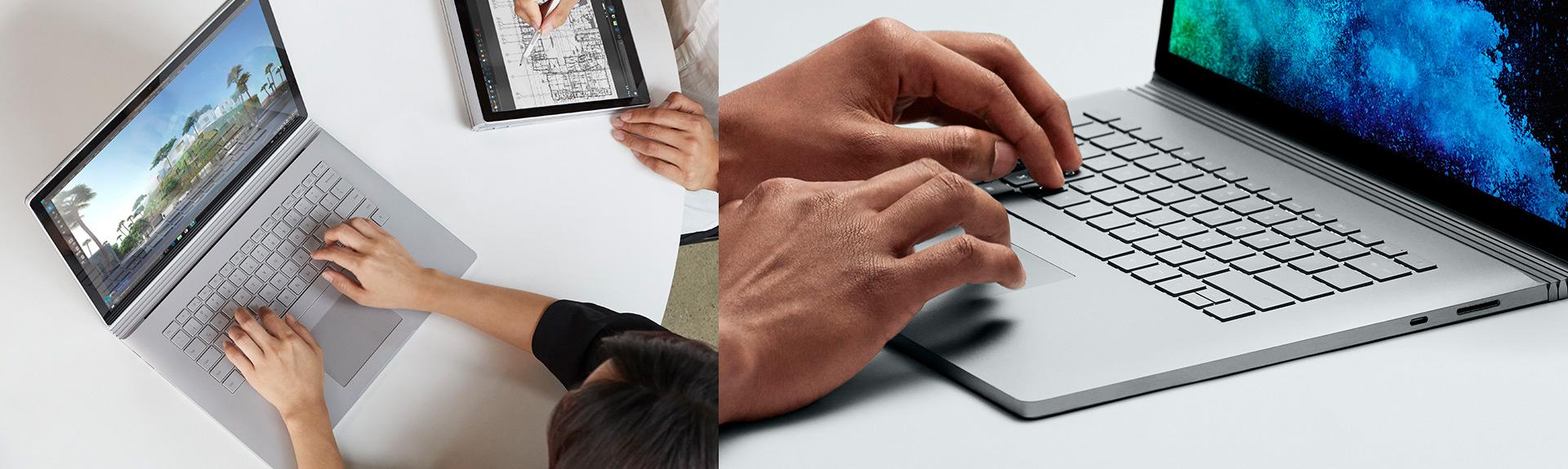 Surface-Book-2. Клавиатура с подсветкой и стеклянный трекпад